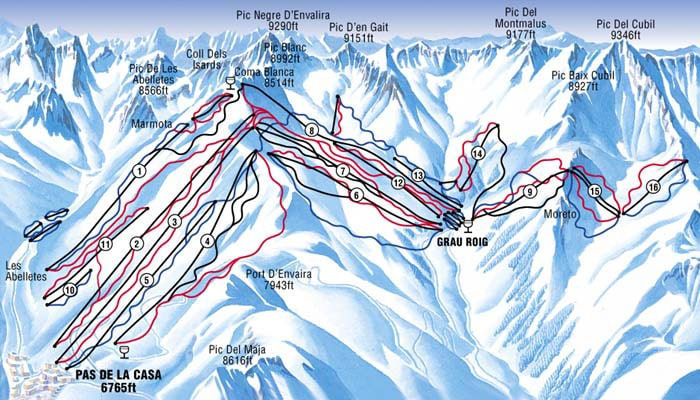 andorra ski map pas de la casa. Black Bedroom Furniture Sets. Home Design Ideas