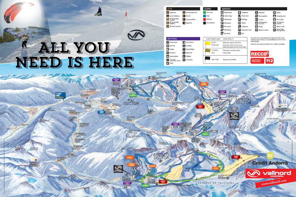 Vallnord Ski Area Piste Map