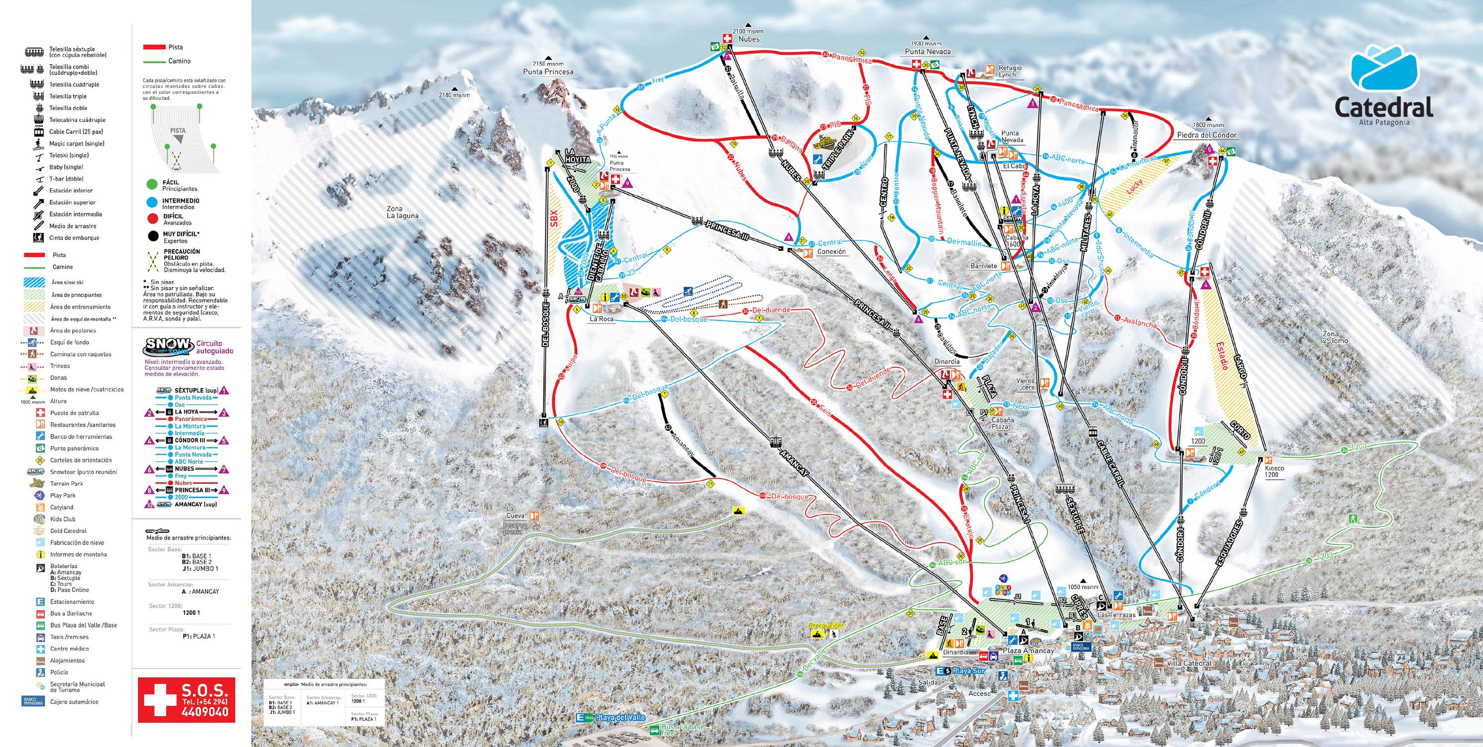San Carlos De Bariloche Piste Map Downloadable Piste Maps - Argentina map bariloche
