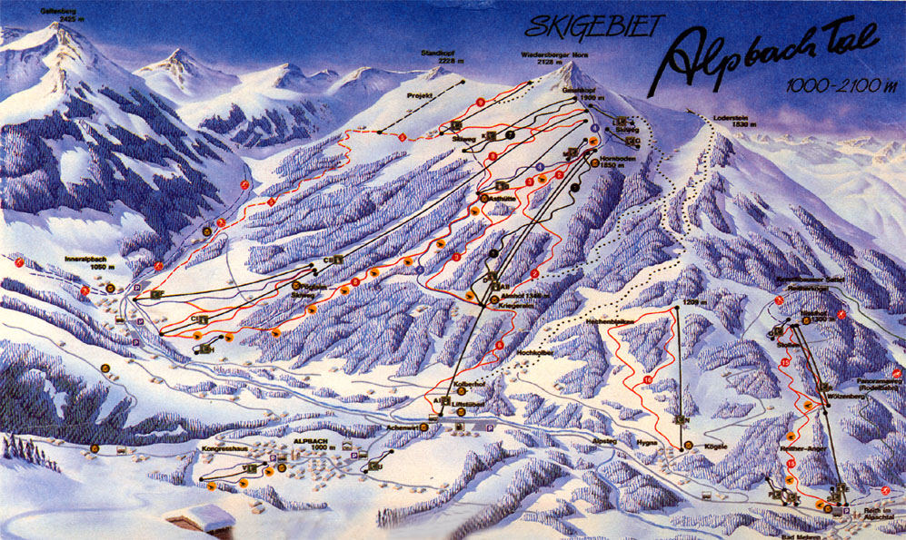 Alpbach Ski Resort Piste Map