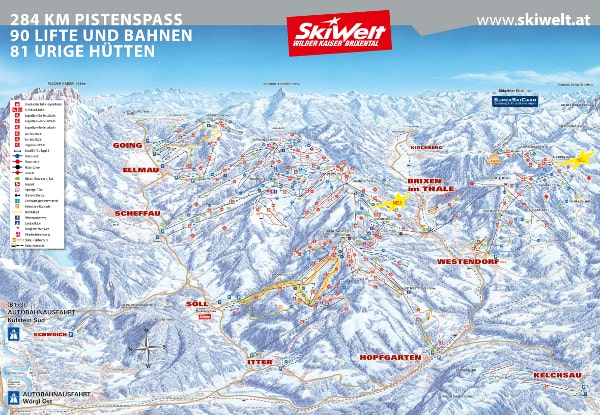 Skiwelt Ski Resort Piste Map