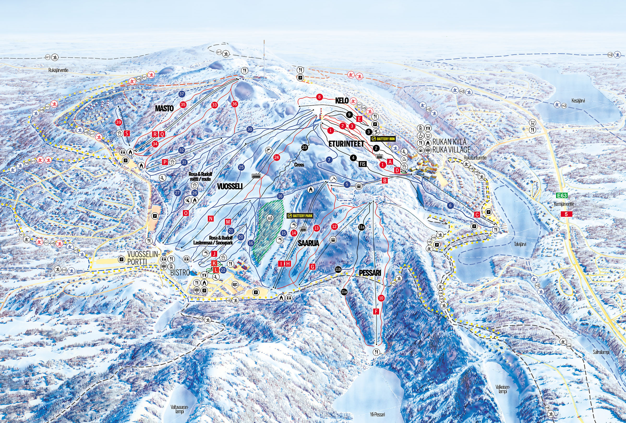Ruka Piste Map – Free downloadable piste maps.