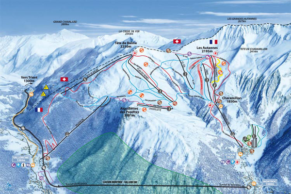 Balme Vallorcine Ski Resort Piste Map
