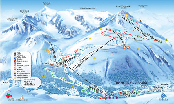 Bonneval Sur Arc Ski Resort Piste Map