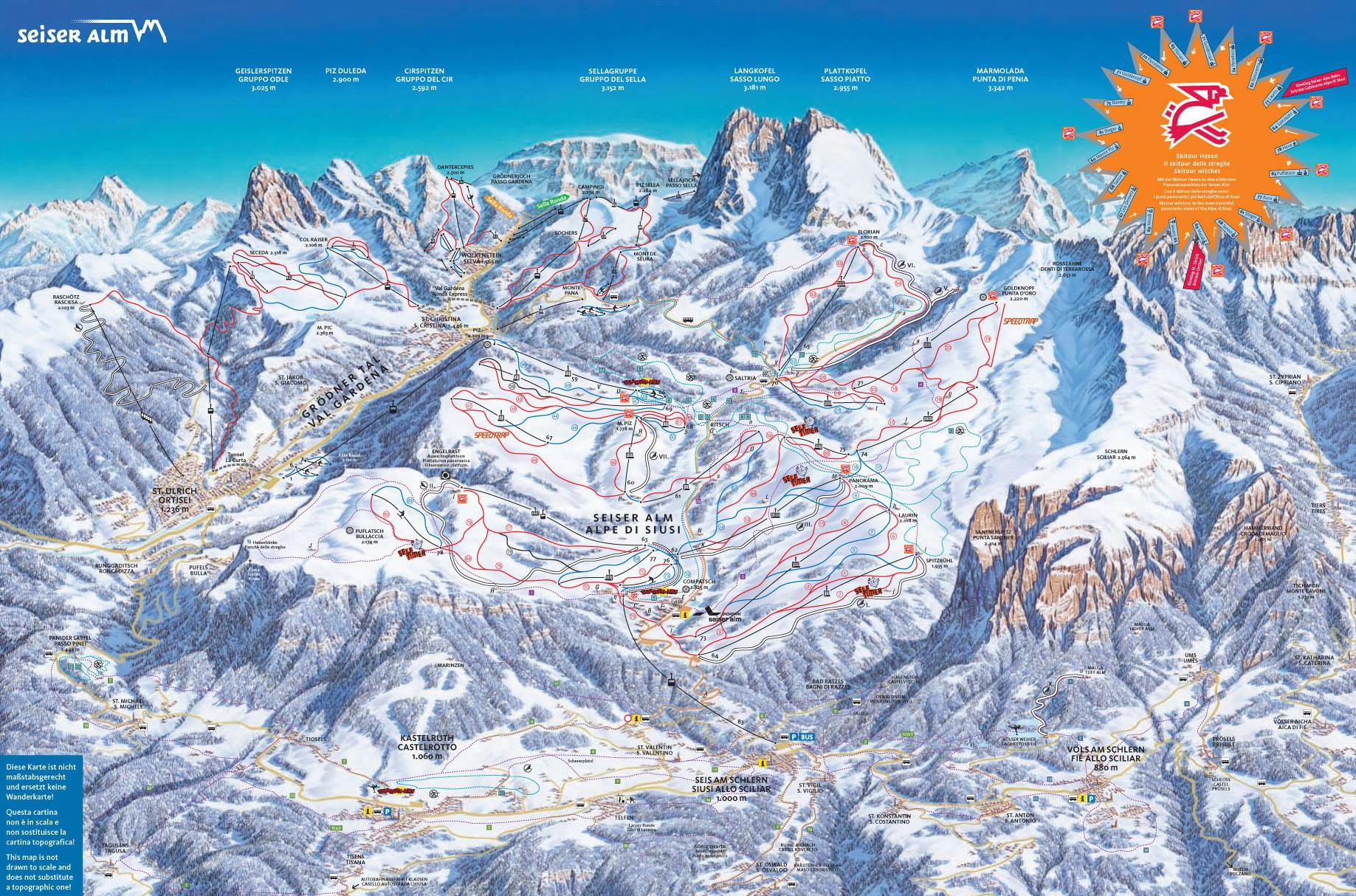 Alpe di Siusi Map Alpe di Siusi Piste Map