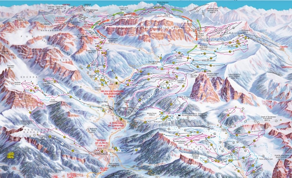 Val Gardena Ski Resort Piste Map