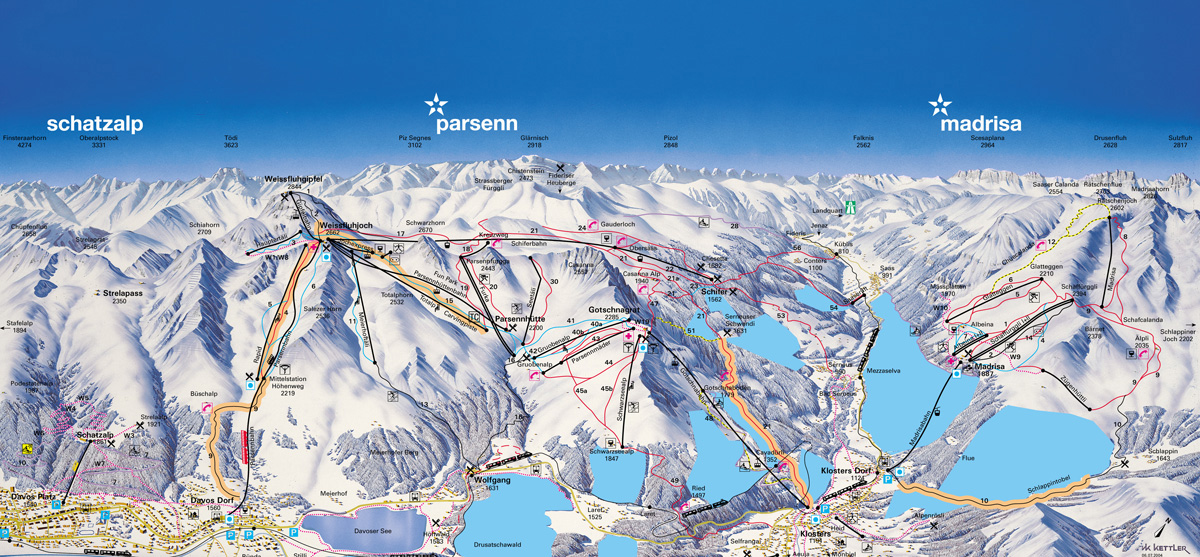 Klosters Dorf Switzerland  city pictures gallery : Davos Klosters Piste Map – Free downloadable piste maps.