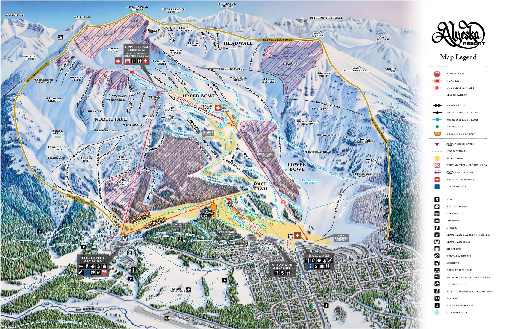 Alyeska piste maps alaska 39 s best ski resorts for Chair 7 alyeska