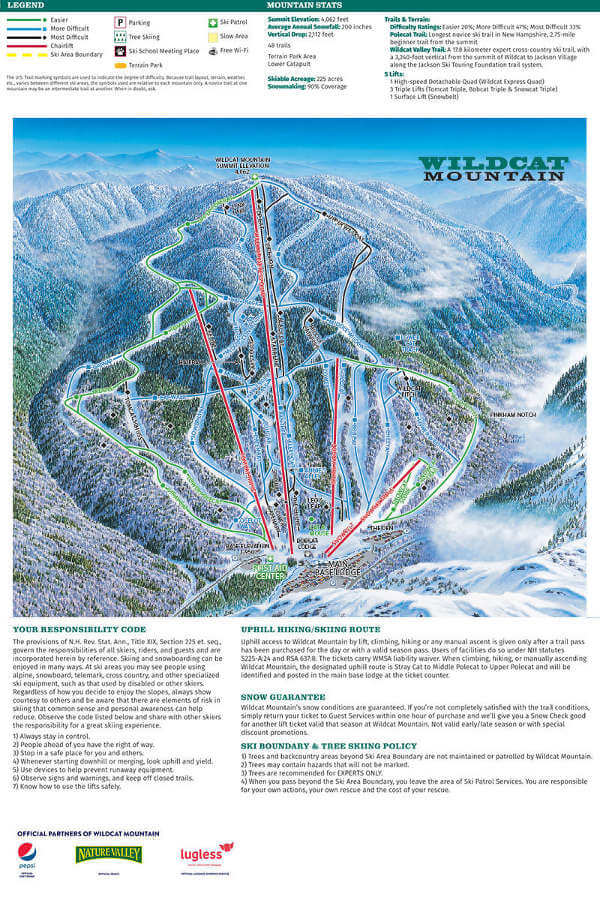 Wildcat Mountain Piste Map