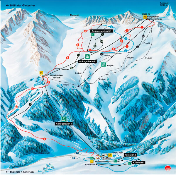 Ankogel Ski Resort Piste Map