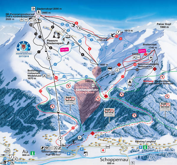 Au Schoppernau Ski Resort Piste Map
