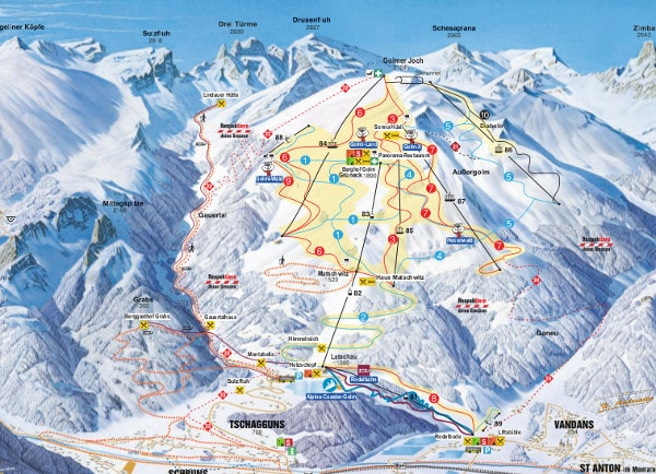 Golm Ski Resort Piste Map