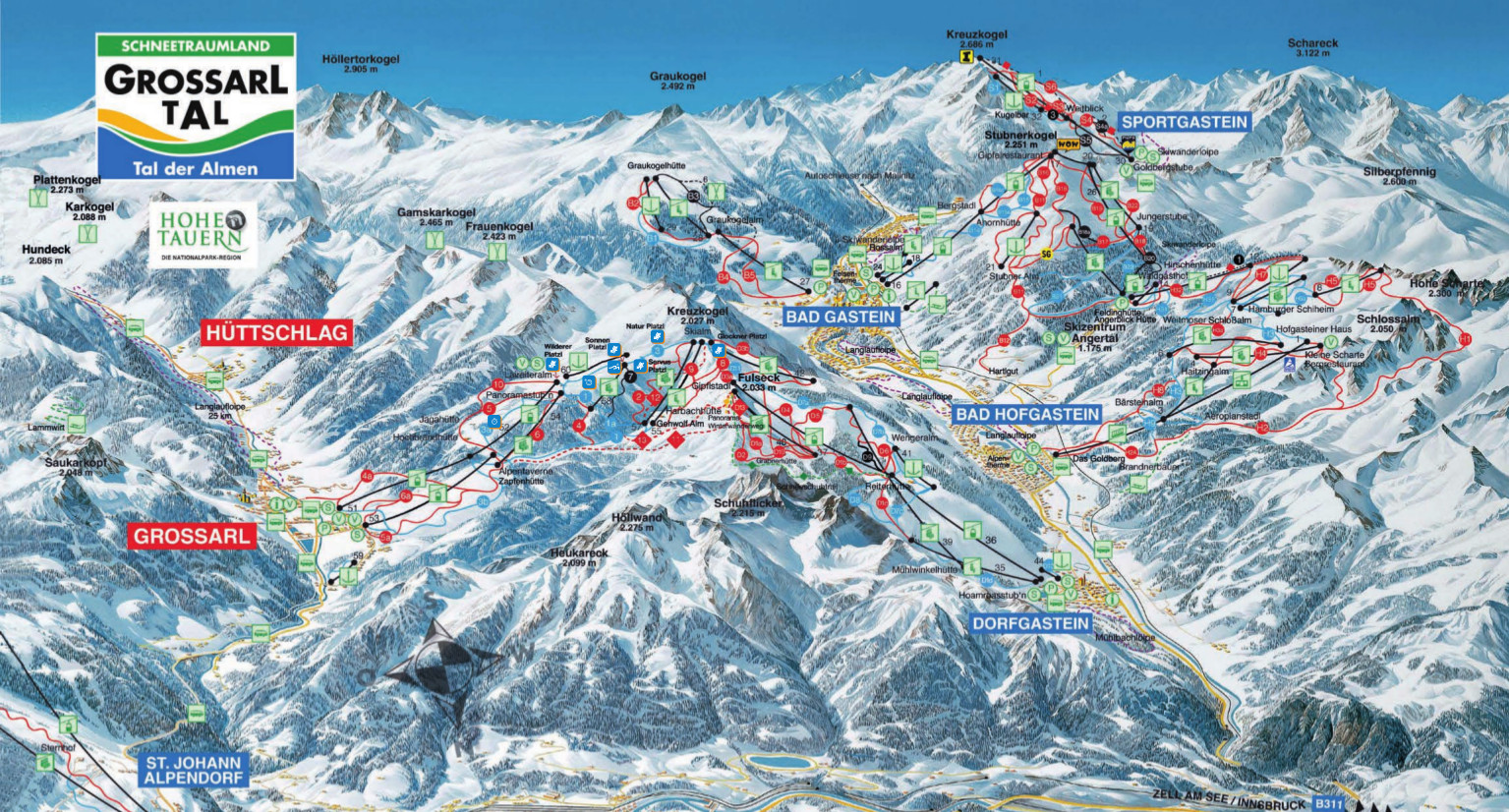 Grossarltal Piste Map Free downloadable piste maps