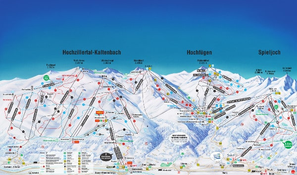 Spieljoch in the Zillertal Valley Ski Resort Piste Map