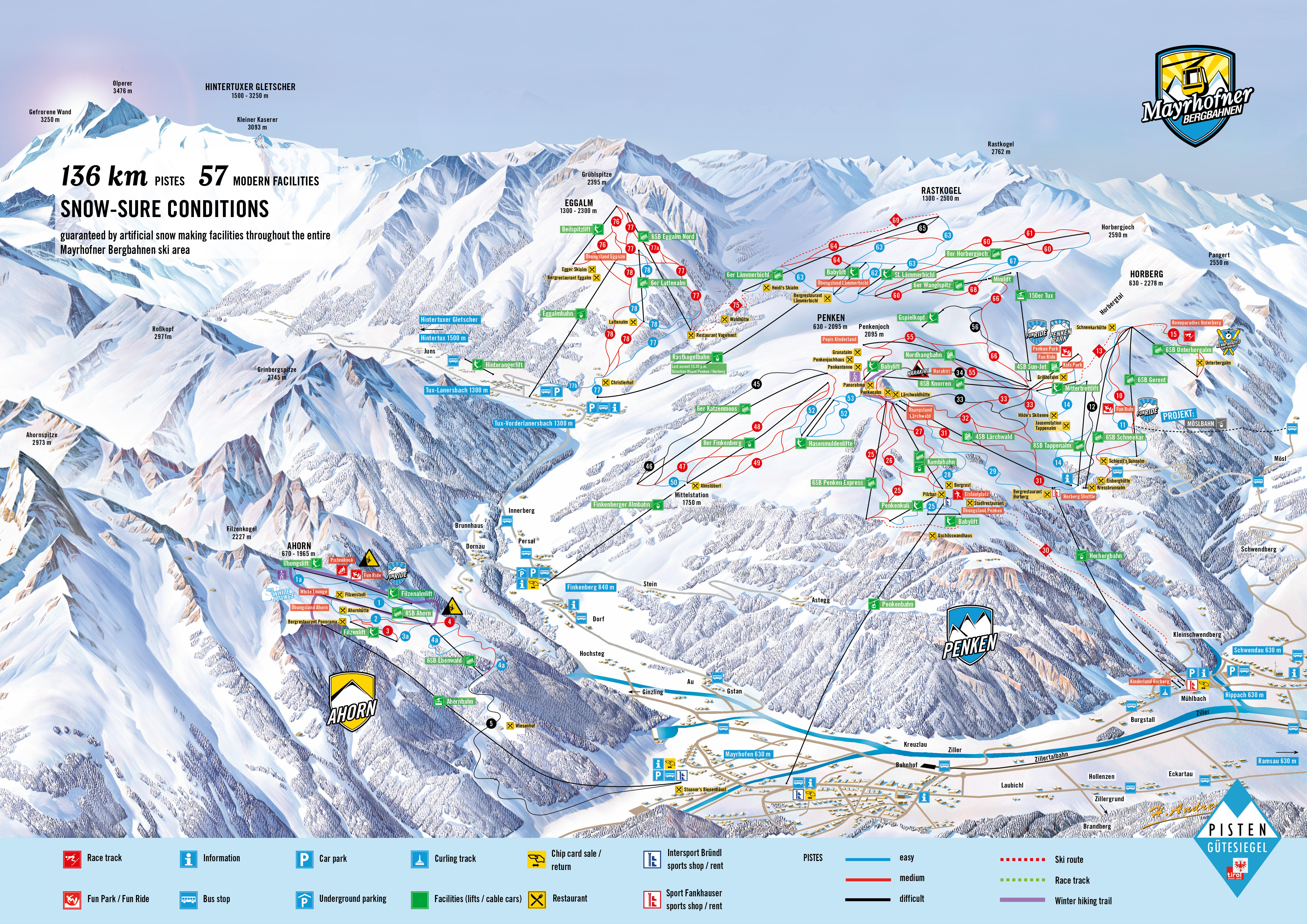 Mayrhofen Austria Piste Map Free downloadable piste maps