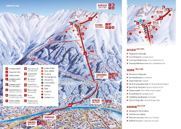 Nordpark Seegrube Ski Resort Piste Map