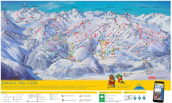 Ski Dimension, Serfaus, Fiss Ladis Piste Map