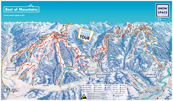 Snow Space Salzburg Ski Resort Piste Map