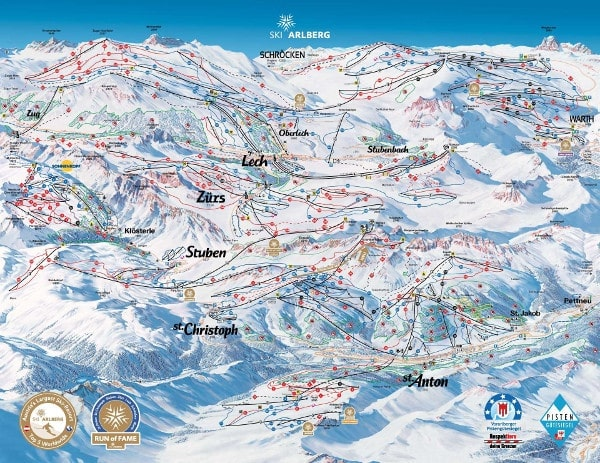 St Anton am Arlberg Ski Resort Piste Map