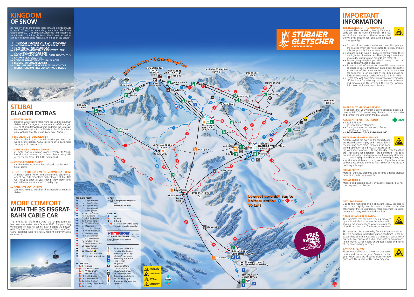 Stubai Glacier Piste Map Free Downloadable Piste Maps
