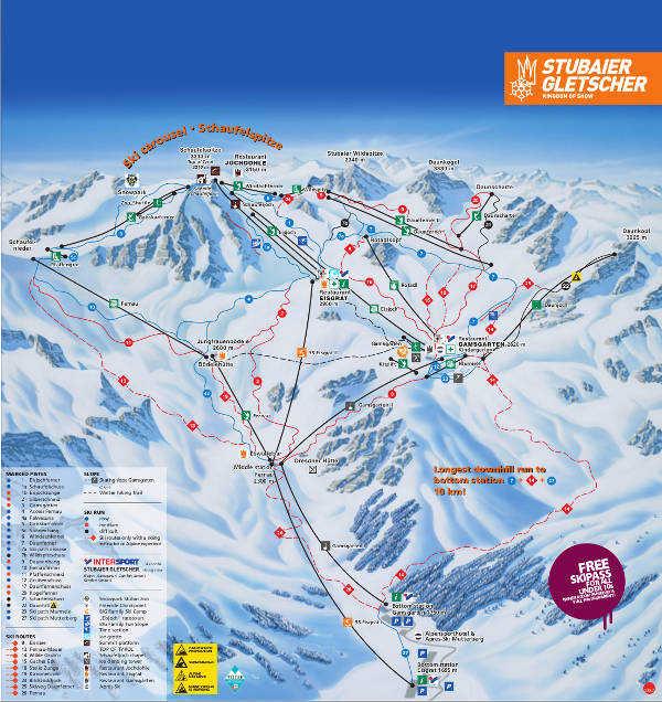 Stubai Glacier Piste Map Free Downloadable Piste Maps