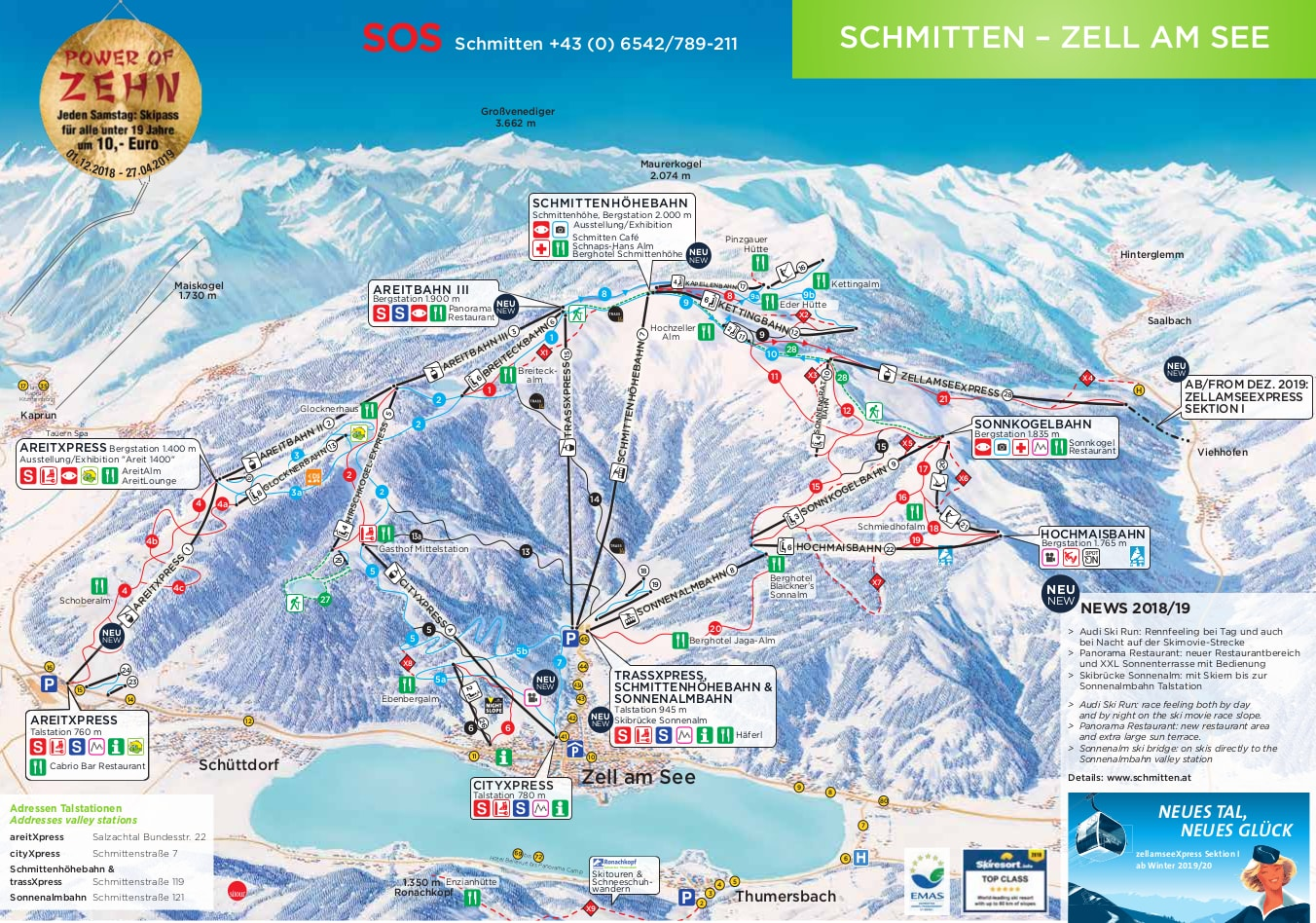 Skiing Virginia Map.Zell Am See Austria Piste Map Free Downloadable Piste Maps