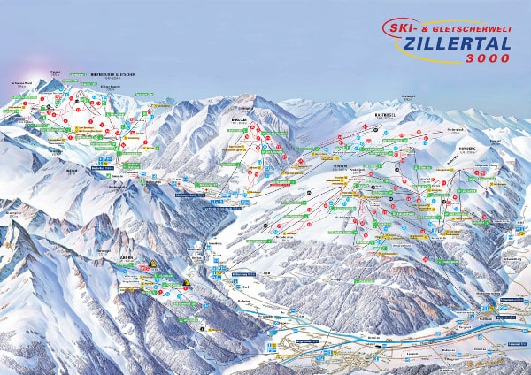Zillertal 3000 Ski Resort Piste Map