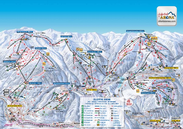 Zillertal Arena Ski Resort Piste Map