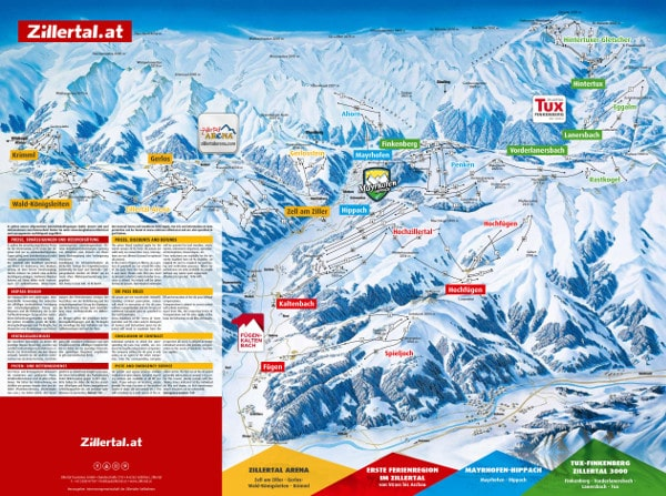 The Zillertal Valley Ski Resort Piste Map