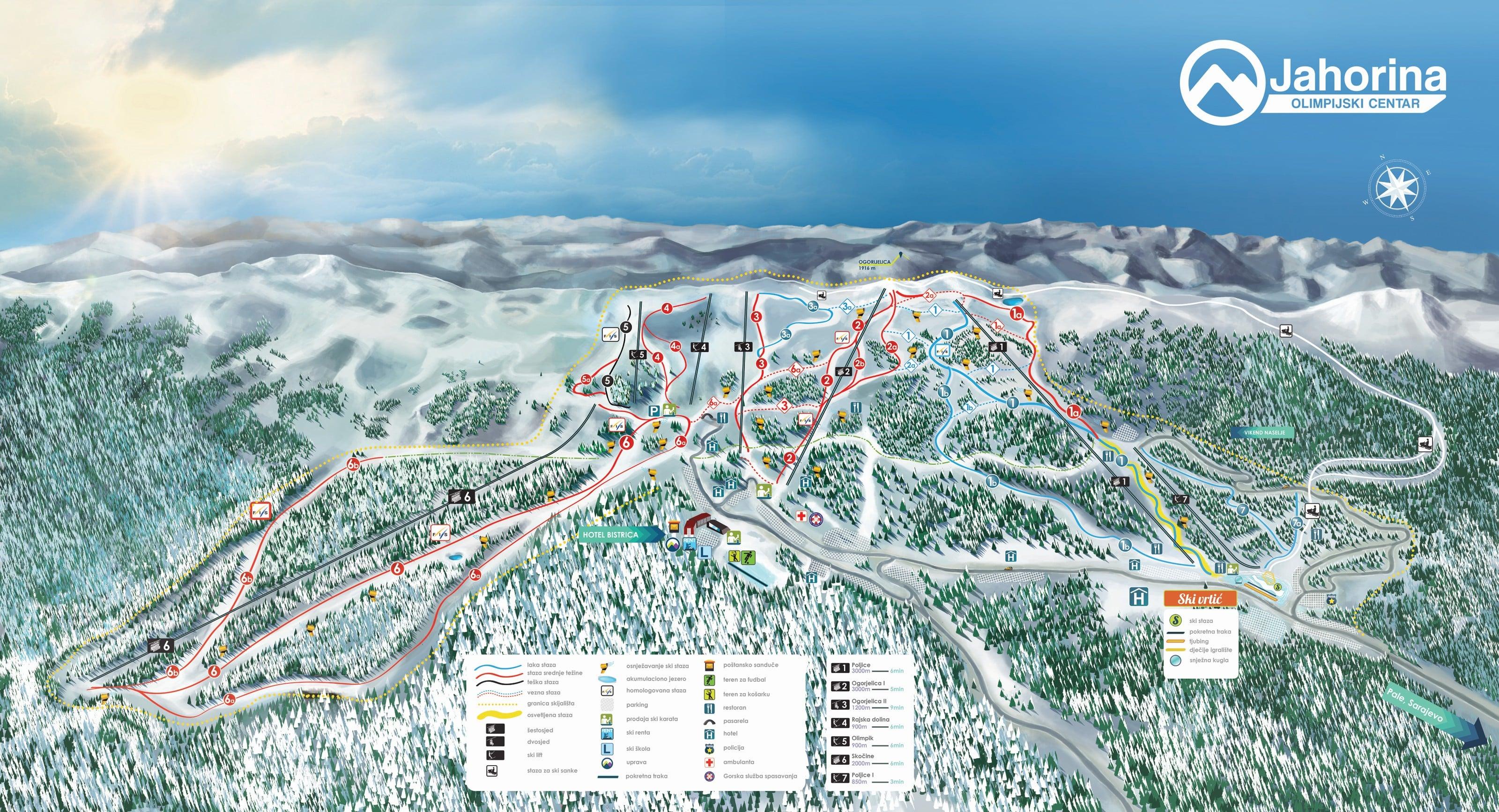 Jahorina Piste Map Sarajevo Ski Resort Bosnia Herzegovina