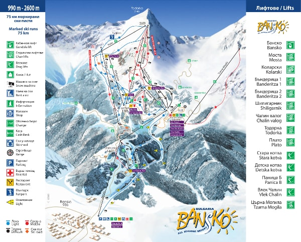 Bansko Ski Resort Piste Map