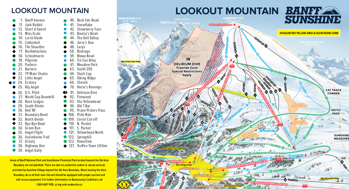 Map Of Canada Banff.Banff Piste Map Free Downloadable Piste Maps