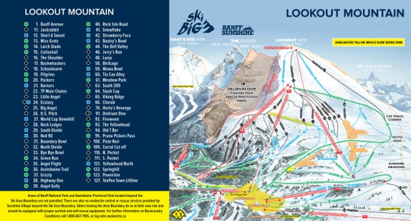Banff Lookout Mountain Piste Map