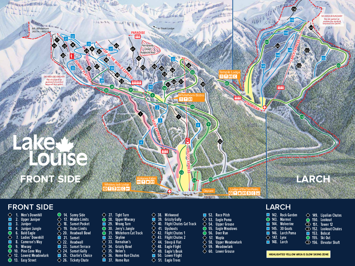 Map Of Canada Lake Louise.Lake Louise Canada Piste Map Free Downloadable Piste Maps