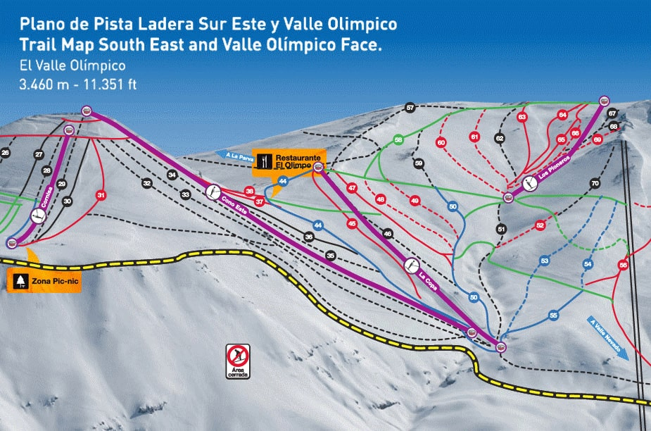El Colorado Piste Map Free Downloadable