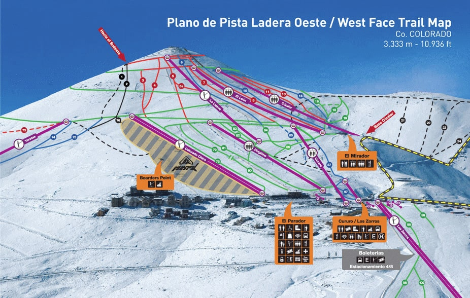 Skiing Colorado Map.El Colorado Piste Map Free Downloadable