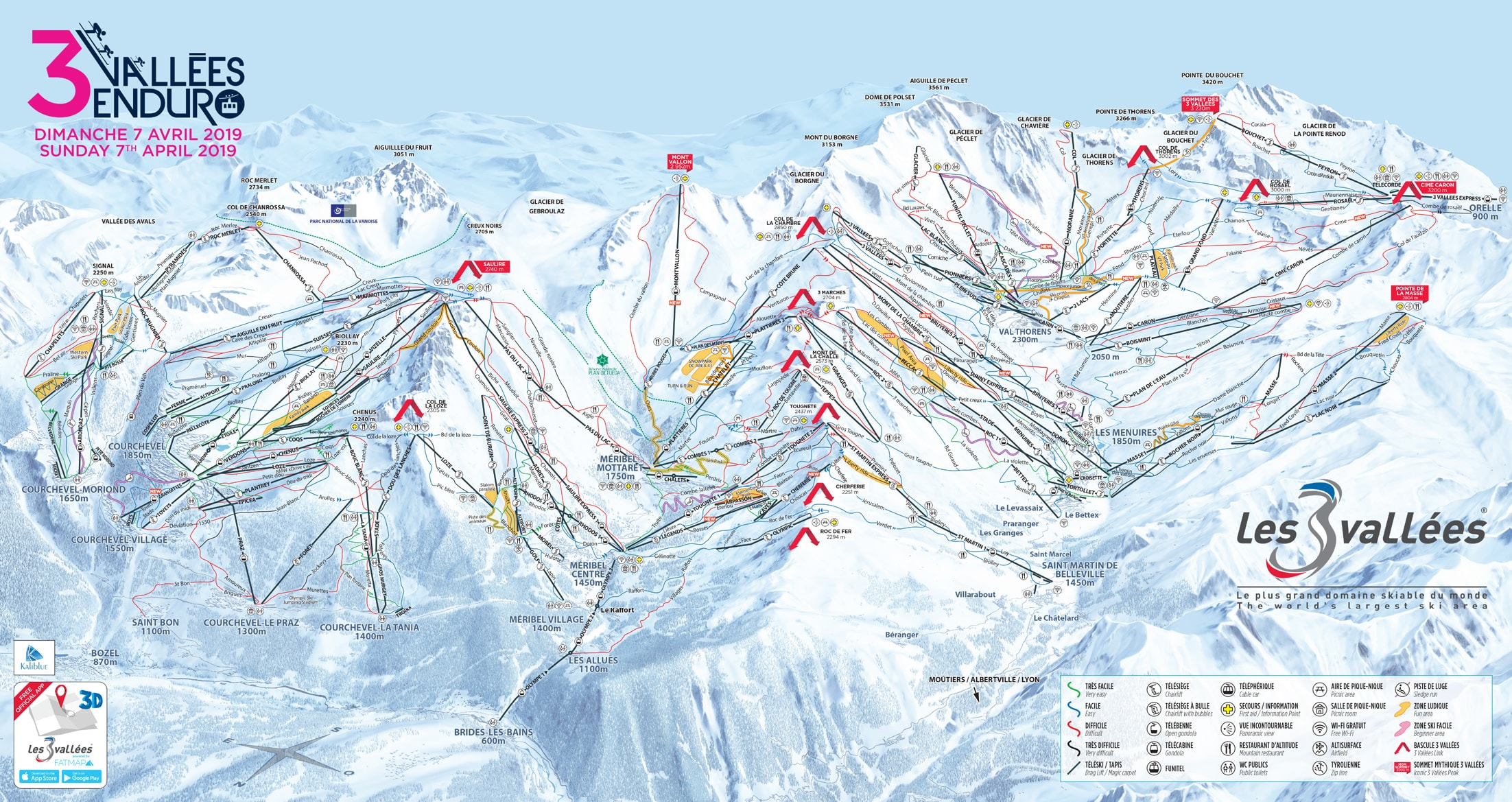 Ski Virginia Map.Three Valleys Piste Map
