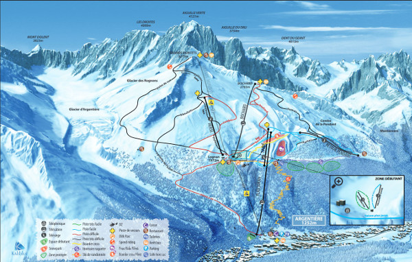 Grand Montets - Argentiere Ski Resort Piste Map