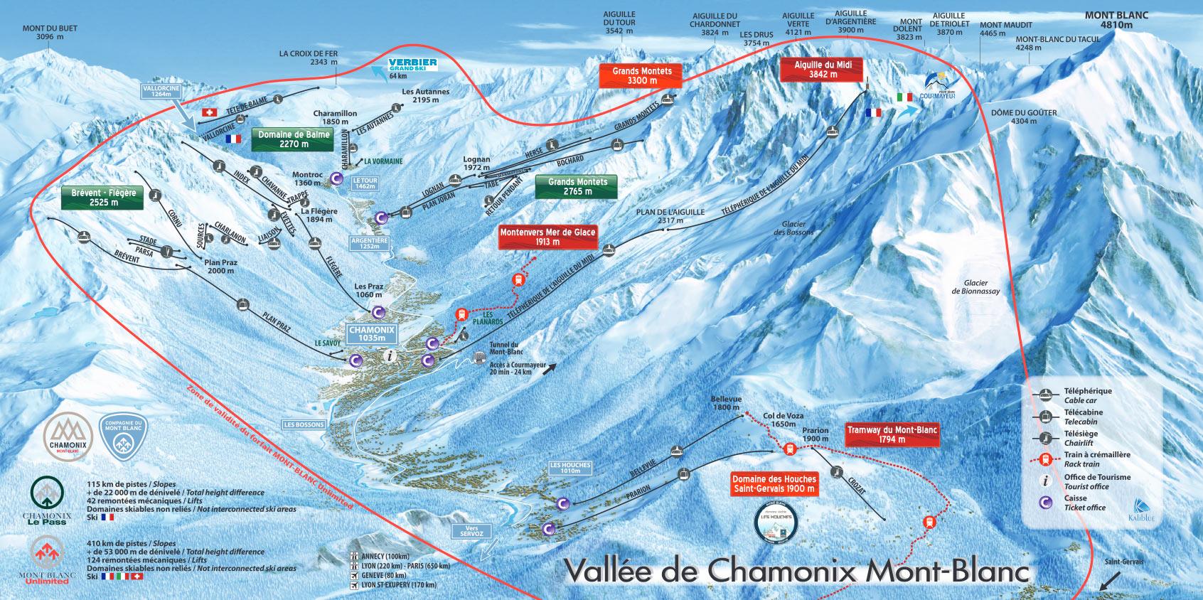 Mont Blanc France Map.Chamonix Piste Map Free Downloadable Ski Piste Maps