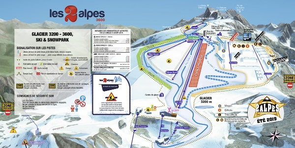 Les Deux Alpes Summer Skiing Piste Map