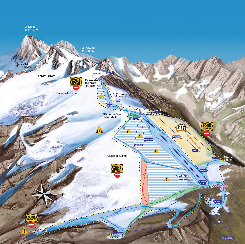 Les deux alpes summer skiing piste map - Office du tourisme deux alpes ...