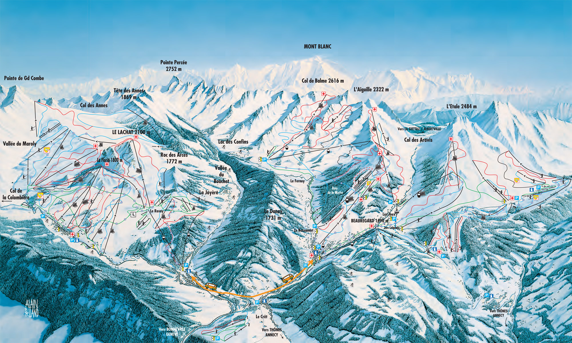 Massif des aravis piste map for Piste de ski interieur