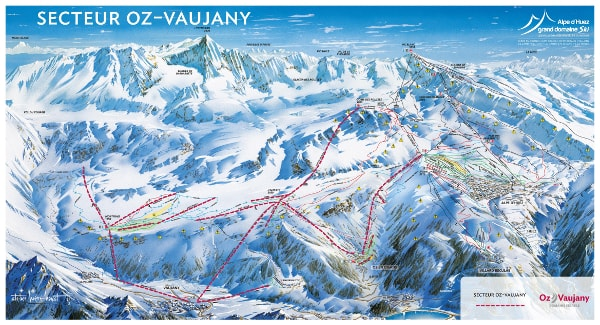Oz en Oisans Ski Resort Piste Map