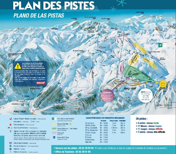 Piau Ski Resort Piste Map