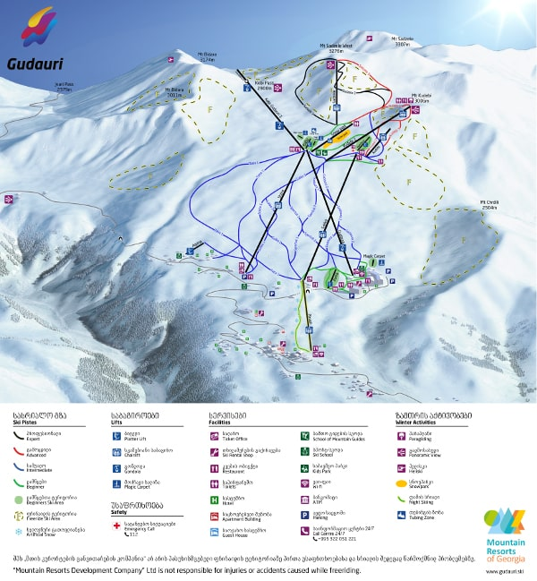Gudauri Ski Resort Piste Map