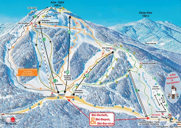 Arber Ski Resort Piste Map