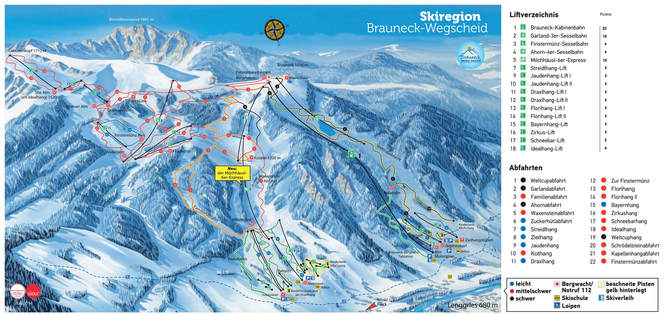 Brauneck Lenggries Wegscheid Piste Map Downloadable