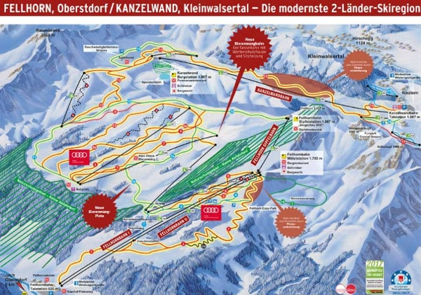 Fellhorn Kanzelwand Ski Resort Piste Map