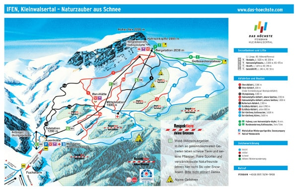 Ifen Ski Resort Piste Map