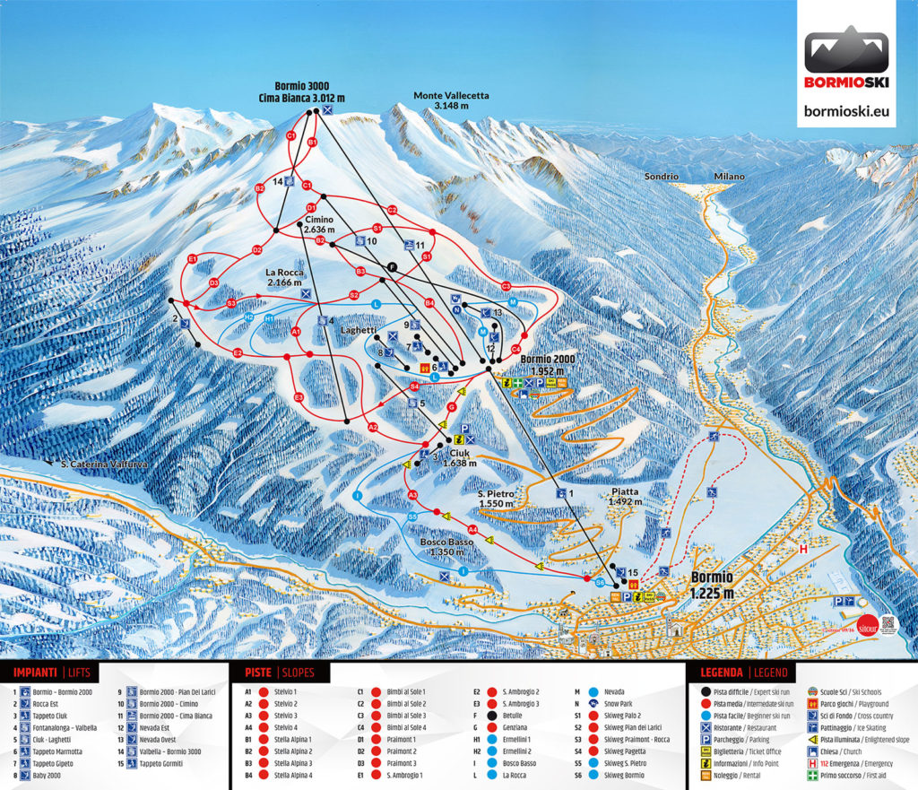 Bormio Alta Valtellina Piste Map Free downloadable piste maps